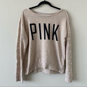 """""""PINK"""" Spell Out Jewelled Sleeve Lounge Pullover"""